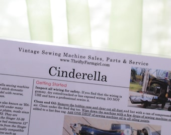 Cinderella Sewing Machine FLASHCARDS Instructions/Oiling/Part#'s/Wipes Clean/Laminated