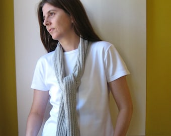 Scarf Knitted in Light Gray Cotton - Summer Fashion, Long Spring Scarf, Womens Scarves, Mens, Cute, Cotton Shawl, Multi Wrap Scarf Hand Knit
