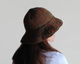 Marl Rust Wool Cloche Winter Hat, Bucket Hat, Chunky Knit Hat, Women's Accessories