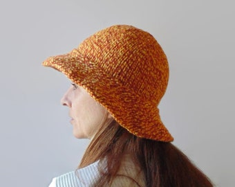 Wide Brim Hat, Bucket Hat Hand Knitted with Marl Yellow and Amber Soft Blend Wool