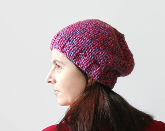Marl Pink Red Wool Hand Knit Chunky Hat, Basic Cute Beanie, Womens Beanies, Slouchy, Bobble Hat, Knit Beanie, Winter Hat, Ready to Ship
