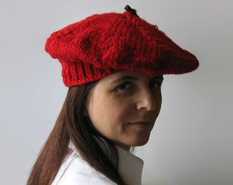 French Beret Knitted in Red Soft Wool - Womens Chunky Knit Hat, Slouchy Hat, Tam, Winter Hat, Wool Beret, Hand Knit Beret, Gifts for Her