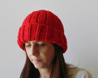 Red Wool Beanie, Red Chunky Knit Hat, Mens Slouchy Beanie Hat, Hand Knit Winter Beanie, Womens Beanie, Wool Hat, Slouch Hat, Beanie Cap