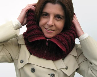 Cowl with Zip Knitted in Burgundy Soft Wool - Mens, Chunky Cowl, Short Scarf, Womens Cowls, Neck Warmer, Hand Knit, Wool Cowl Scarf, Snood