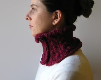 Burgundy Lace Collar - Wool Hand Knit Cowl, Micro Scarf, High Neck Warmer, Winter Short Scarf, Womens Scarves, Button Scarf, Gift For Her