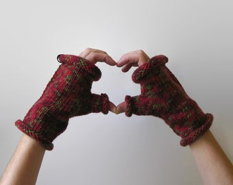 Variegated Red Wool Fingerless Gloves - Hand Knit Mittens, Womens Hand Warmers, Winter Accessories Shelter Mitts Ready to Ship Gifts for Her