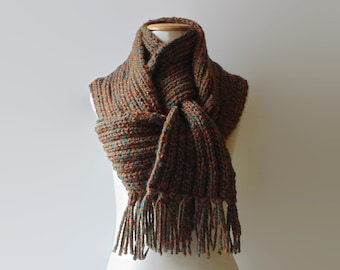Marl Rust Wool Knitted Winter Scarf, Long Ribs Scarf with Fringes, Chunky Knit Neck Warmer