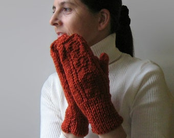 Burnt Orange Hand Knitted Mittens in Soft Wool Blend for Women