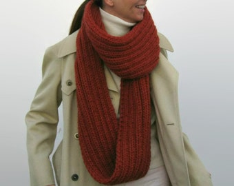 Burnt Orange Chunky Knit Loop Scarf, Cowl Scarf Hand Knitted in Soft Wool Blend