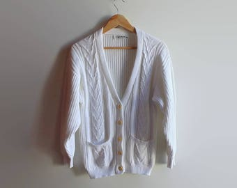 Cardingan Knitted in White  Cotton - 90s Womens Clothes