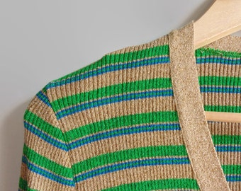 Cardigan with Shiny Stripes - 70s Vintage Knit Womens Clothing