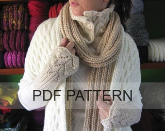 PDF Knitting Pattern Lace Cuffs, Instant Download, How to Knit