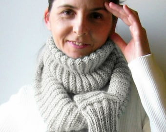 Scarf Knitted in Pearl Gray Wool - Long Cute Winter Wool Knit Shawl, Multi Wrap Womens Scarves, Mens Scarf, Sweater Scarf, Ready to Ship