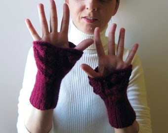 Lace Arm Warmers Knitted in Burgundy Wool - Fingerless Gloves, Knit Gift for Women, Cuffs, Hand Warmers, For Her, Winter Accessories