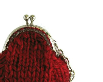Mini Coin Purse - Keychain Knitted in Red Wool -  Womens Money Holder 5 Round Clutch, Clasp Pouch, Kiss Lock, Change, Chunky, Gifts Under 20