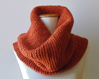 Burnt Orange Chunky Knit Cowl Scarf, Snood Hand Knitted in Pure Wool