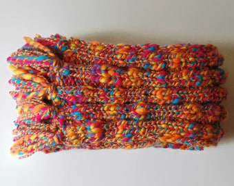 Long Scarf Hand Knitted with Marbled Cyan Magenta Yellow Soft Blend Wool