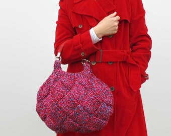 Marl Pink Red Wool Knitted Tote Hobo Bag, Short Handles Straps, Knitted Woman Handbag, Medium Top Handles Purse, Fashion Winter Accessories