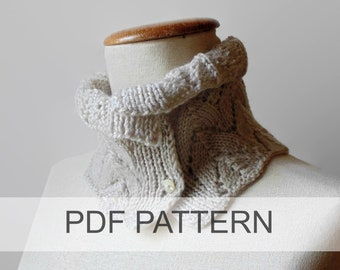 PDF Knitting Pattern Collared Lace Cowl, Instant Download, How to Knit