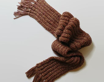 Long Scarf Hand Knitted in Marl Burgundy Soft Wool Blend, Ribbed Scarf with Fringes