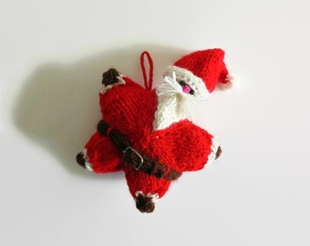 Santa Claus Christmas Ornament - Home Decor, Small Pillow, One of a Kind, Hand Knitted Items, Doll, Red Star Stuffed, Plushie, Ready to Ship