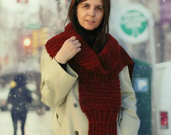 Long Scarf Hand Knitted in Maroon Red Pure Wool, Chunky Scarf, Winter Accessories