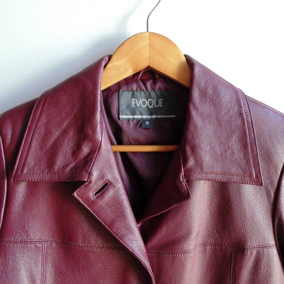 Womens Clothing Casual Faux Vintage 90s Buttons Two Jacket Pockets for Burgundy 8 Size Blazer Women Clothes USA Down Leather Drop O1Rqxn6