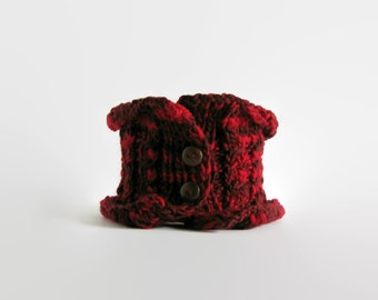 Micro Scarf Hand Knitted in Red Wool - Hand Knit Cowl, Chunky Winter Scarf, Button, Cable Knit Scarf, Warm Scarf, Womens Scarves, Neckwarmer