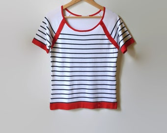 Nautical T Shirt White with Black Stripes and Red Trims - 90s Summer Top - Womens Vintage Clothing, Summer Top, Round Neck, Size 6, Tee