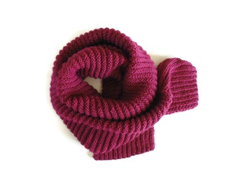 Burgundy Scarf Knitted in Soft Wool - Cute, Mens, Womens Scarves, Hand Knit, Long, Winter, Unisex, Warm, Ready to Ship, Multi Wrap Scarf