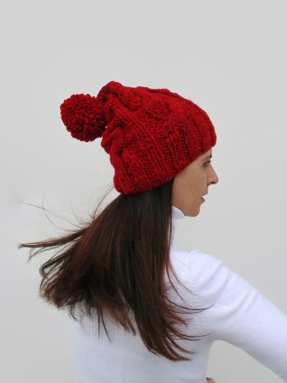 333050a7dd2 Red Beanie with Pom Pom Woman Knit Hat in Soft Wool Blend