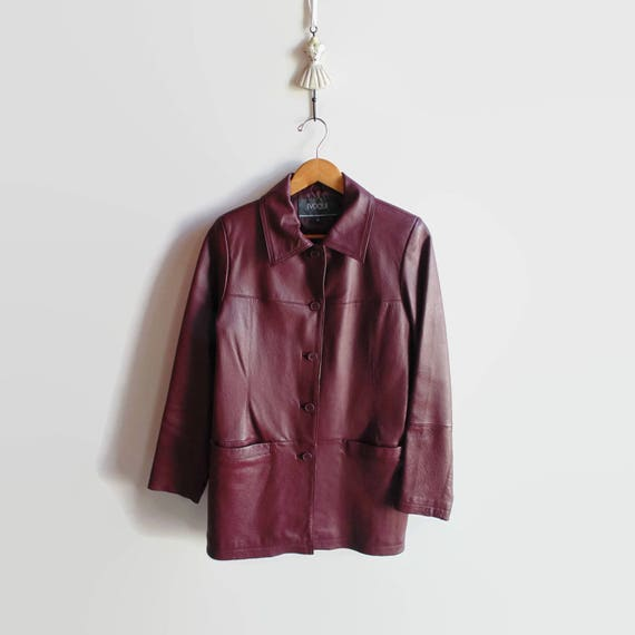 Burgundy Leather Women's Jacket