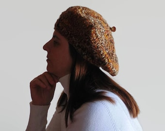 French Style Women Beret Hand Knitted in Marl Brown Wool, Chunky Knit, Slouchy Hat