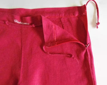 Red Cotton Straight Pajama Pants - 90s Womens Clothes - Vintage Clothing, Trousers, Summer Wear, Long Pants, Size US 10 Women