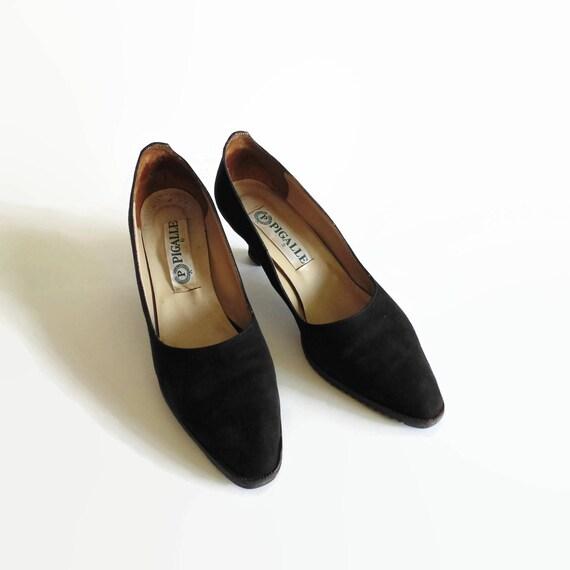 Shoes Women's Stilettos Classic Flare 7 Vintage cm Sole Toe Pumps Rubber Heels 90s Suede Almond Heels Black tqawBaX