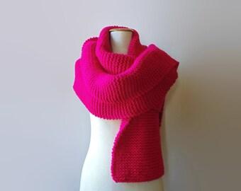 Magenta Wool Chunky Knit Scarf, Long, Winter, Hand Knit, Oversized, Multi Wrap, Unisex, Fashion Warm Scarf, Womens Scarves, Mens Scarf