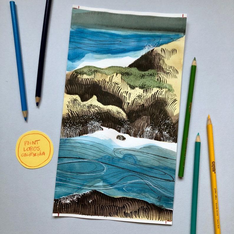 California Coastal Watercolor 3/6  ORIGINAL ART image 0