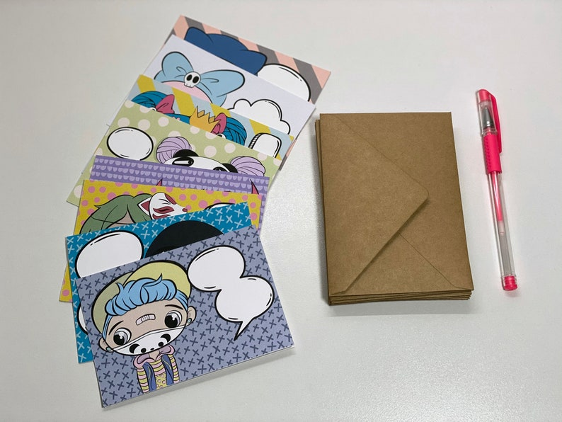 BBR Brigade Word Bubble Note Card Set 8 Cards Kawaii Chibi Note Cards Cute Cards Cute Stationery Kawaii Stationery