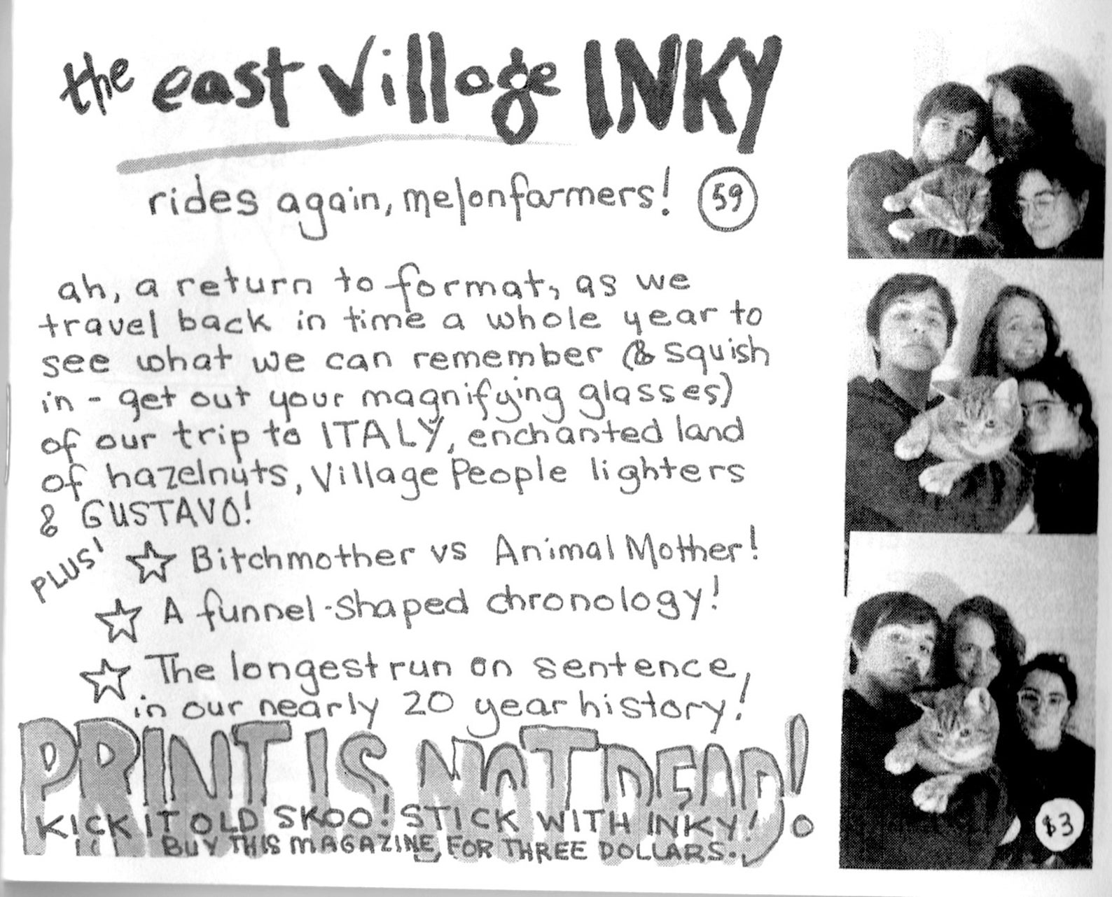 zine cover: The East Village Inky #59