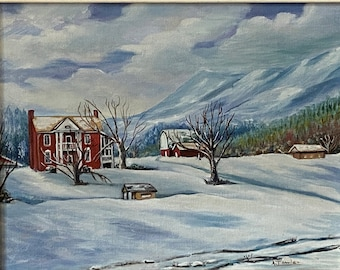 Mom/'s Art work; Father/'s Day or Men/'s Birthday; Hand painted winter scene; stationery or note cards; Water color Red Barn in Winter; 1980/'s