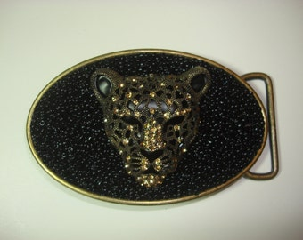 Beaded Belt buckle - Leopard with crystals - Womens belt  buckle