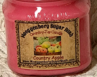 Jar Candle, Country Apple, Mason Jar Candle, 1/2 pint, container candle, apple scented candle, apple  jar candle, Moeggenborg Sugar Bush