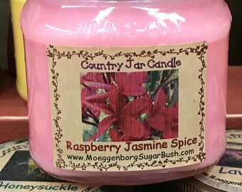 Jar Candles, Raspberry Jasmine Spice, mason jar, 1/2 pint, floral scent, teacher gift, container candle, Moeggenborg Sugar Bush