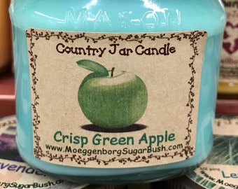 Jar Candle, Crisp Green Apple, Mason Jar, 1/2 pint candles,  apple scented, container candle,  Moeggenborg Sugar Bush