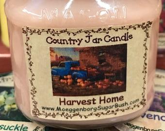Mason jar candle, Harvest Home, Cinnamon, Clove, Orange clove, primitive autumn scent, autumn candle, half pint, Moeggenborg Sugar Bush