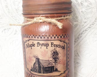 Grungy Jar Candle, Maple Syrup Festival, pint jar, maple scented candle, housewarming gift, Moeggenborg Sugar Bush, maple pecan scent