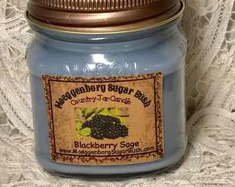 Jar Candle, Mason Jar, Black Raspberry Vanilla, 1/2 pint candle, container candle, Moeggenborg Sugar Bush