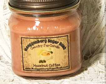 Jar Candle, Mason Jar, Hazelnut Coffee, Country Mason Jar Candle, half pint, Moeggenborg Sugar Bush