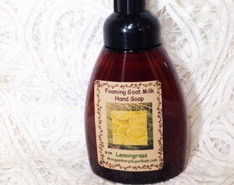 Foaming Goat Milk Hand Soap, Lemongrass, fresh citrus scent, herbal lemon, Moeggenborg Sugar Bush