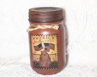 Grungy Jar Candle, honey almond scented, patriotic, Moeggenborg Sugar Bush, pint jar candle